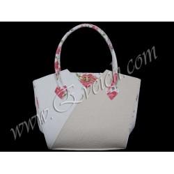 дамска чанта бежов и бял цвят -CH 036N