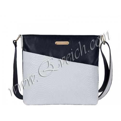 дамска чанта през рамо -CH037CS- син и бял цвят
